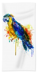 Parrot Watercolor  Beach Sheet by Marian Voicu