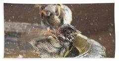 Pass The Towel Please: A House Sparrow Beach Sheet by John Edwards