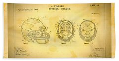 Patent Art Michigan Helmet Beach Towel by Big 88 Artworks