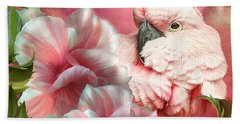 Peek A Boo Cockatoo Beach Towel by Carol Cavalaris