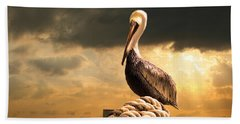 Pelican After A Storm Beach Towel by Mal Bray