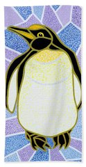 Penguin On Stained Glass Beach Sheet by Pat Scott