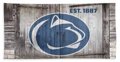 Penn State Football // Old Barn Doors Beach Towel by Tim Miklos