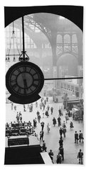 Penn Station Clock Beach Sheet by Van D Bucher and Photo Researchers