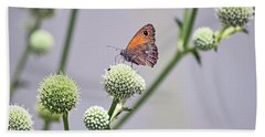 Perched Butterfly No. 255-1 Beach Towel by Sandy Taylor
