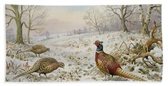 Pheasant And Partridges In A Snowy Landscape Beach Sheet by Carl Donner