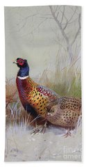 Pheasants In The Snow Beach Towel by Archibald Thorburn