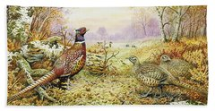 Pheasants In Woodland Beach Towel by Carl Donner