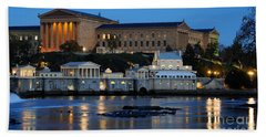 Philadelphia Art Museum And Fairmount Water Works Beach Sheet by Gary Whitton