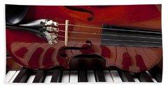 Piano Reflections Beach Sheet by Garry Gay