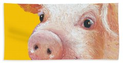 Pig Painting On Yellow Background Beach Sheet by Jan Matson