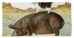 Piggyback-riding At Breteche Creek Beach Sheet by Ditz