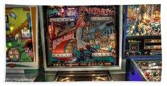 Pinball Elton John Bally Beach Towel by Jane Linders