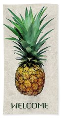 Pineapple Express On Mottled Parchment Welcome Beach Towel by Elaine Plesser