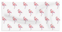 Pink Flamingo Watercolor Pattern Beach Towel by Olga Shvartsur