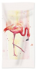 Pink Flamingo Watercolor Rain Beach Towel by Olga Shvartsur