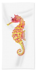 Pink Yellow Seahorse Beach Sheet by Amy Kirkpatrick