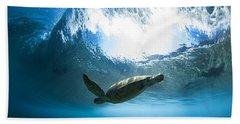 Pipe Turtle Glide Beach Towel by Sean Davey