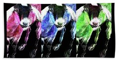 Pop Art Goats Trio - Sharon Cummings Beach Towel by Sharon Cummings