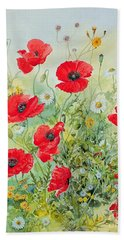 Poppies And Mayweed Beach Sheet by John Gubbins