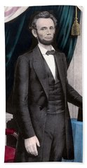 President Abraham Lincoln In Color Beach Towel by War Is Hell Store