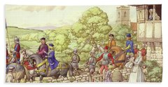 Prince Edward Riding From Ludlow To London Beach Towel by Pat Nicolle