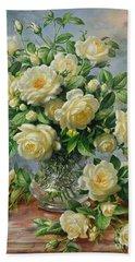 Princess Diana Roses In A Cut Glass Vase Beach Towel by Albert Williams