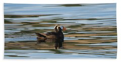 Puffin Reflected Beach Towel by Mike Dawson