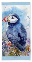 Puffin With Flowers Beach Sheet by Kovacs Anna Brigitta