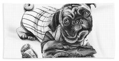 Pug Ruth  Beach Towel by Peter Piatt