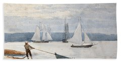 Pulling The Dory Beach Towel by Winslow Homer