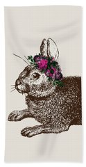 Rabbit And Roses Beach Towel by Eclectic at HeART