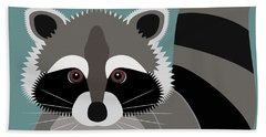 Raccoon Forest Bandit Beach Towel by Antique Images