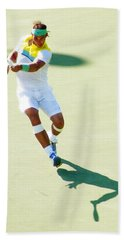 Rafael Nadal Shadow Play Beach Sheet by Steven Sparks