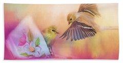 Raiding The Teacup - Songbird Art Beach Towel by Jai Johnson