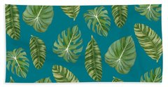 Rainforest Resort - Tropical Leaves Elephant's Ear Philodendron Banana Leaf Beach Towel by Audrey Jeanne Roberts
