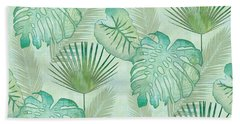 Rainforest Tropical - Elephant Ear And Fan Palm Leaves Repeat Pattern Beach Towel by Audrey Jeanne Roberts