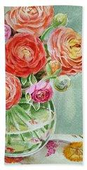 Ranunculus In The Glass Vase Beach Towel by Irina Sztukowski