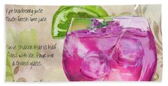 Rasmopolitan Mixed Cocktail Recipe Sign Beach Towel by Mindy Sommers