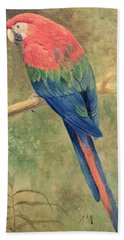 Red And Blue Macaw Beach Towel by Henry Stacey Marks