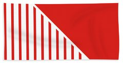 Red And White Triangles Beach Towel by Linda Woods