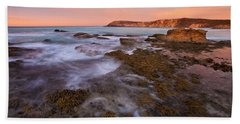 Red Dawning Beach Sheet by Mike  Dawson