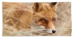 Red Fox On The Hunt Beach Towel by Roeselien Raimond