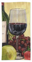 Red Wine And Pear 2 Beach Sheet by Debbie DeWitt