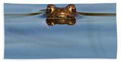 Reflections - Toad In A Lake Beach Towel by Roeselien Raimond