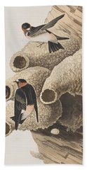 Republican Or Cliff Swallow Beach Towel by John James Audubon
