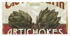 Retro Veggie Labels 1 Beach Sheet by Debbie DeWitt