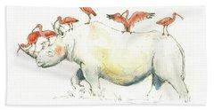 Rhino And Ibis Beach Towel by Juan Bosco