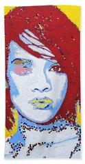 Rihanna  Beach Towel by Stormm Bradshaw