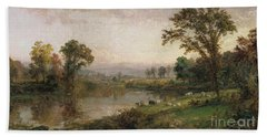 Riverscape In Early Autumn Beach Sheet by Jasper Francis Cropsey